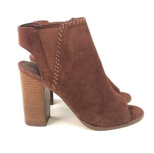 Urban Outfitters Open Toe Ankle Boots Stacked Heel